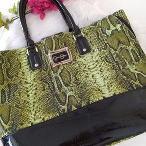 Jessica Simpson Green Snake Print Tote Bag